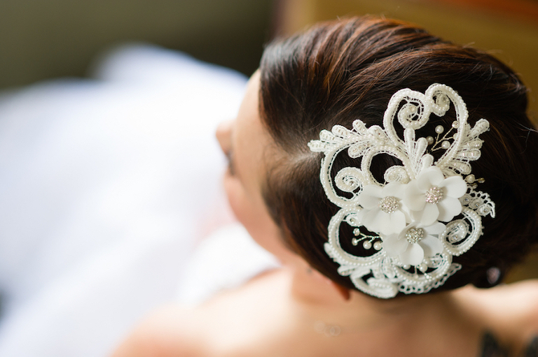 Bridal Portrait with White, Hair Accessory Clip with Flowers and Beads