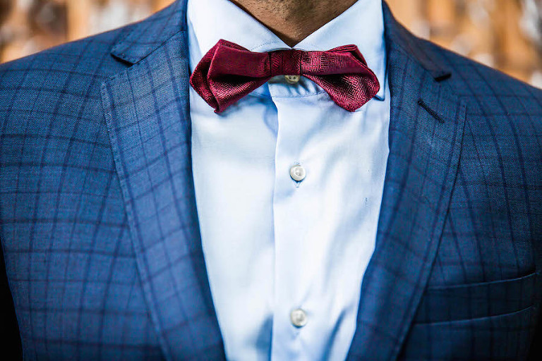 Groom's Deep Burgundy Red Bow Tie and Blue Suit | Southern Wedding Inspiration