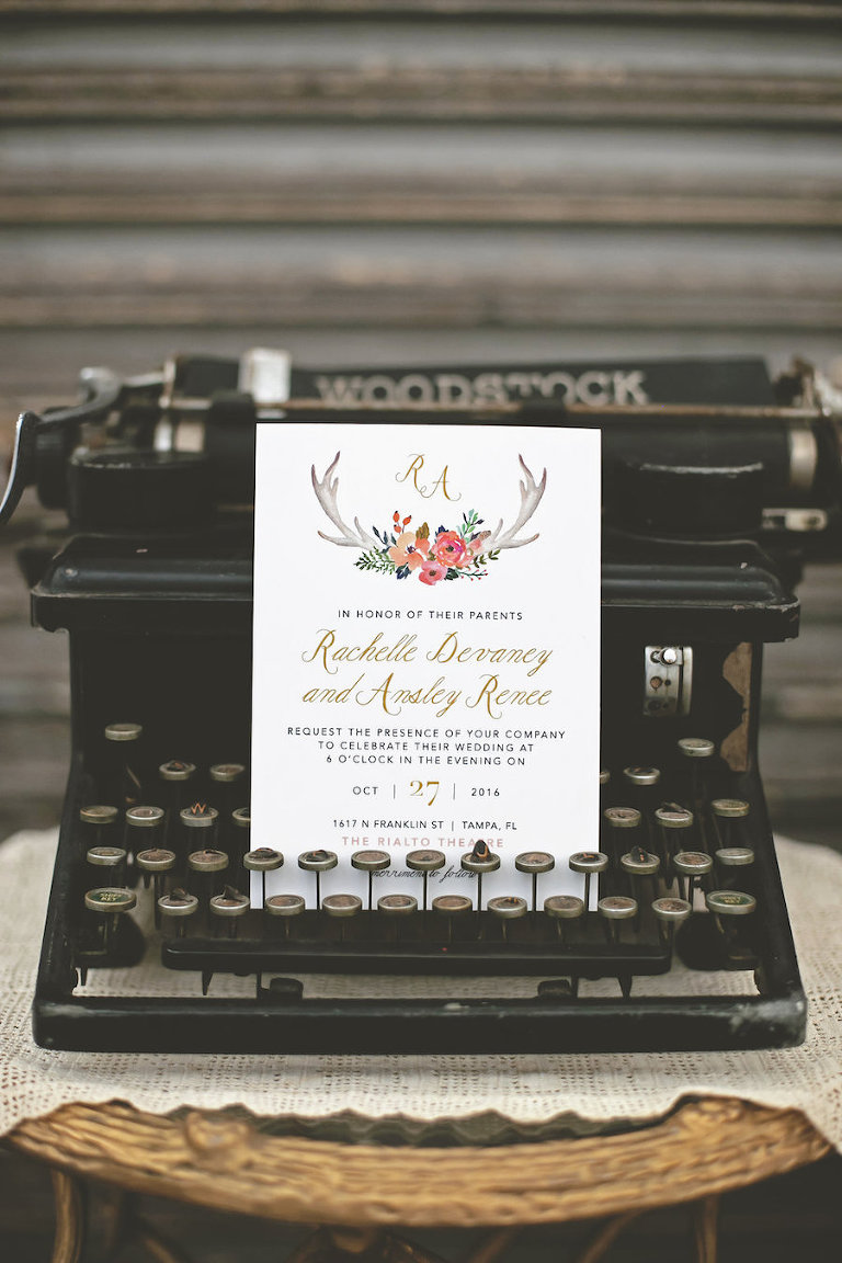 Antique Typewriter with Floral and Gold Wedding Invitation | Bohemian/Boho Styled Wedding Shoot