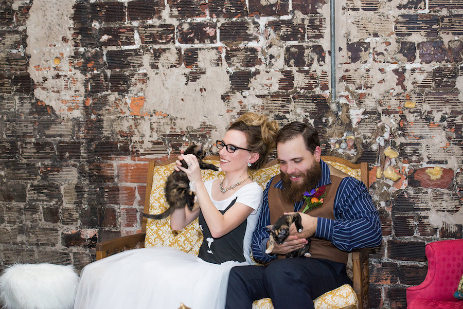 Tampa Bay Bride and Groom Cat Inspired Wedding at Tampa Bay Wedding Venue Rialto Theatre with Kittens from Tampa Cat Crusaders|Tampa Bay Wedding Photographer Artful Adventures Photography