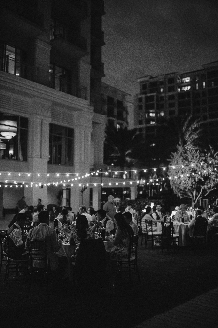 Outdoor Cafe Market Lighting Detail by Nature Coast Entertainment at Clearwater Beach Evening Outdoor Wedding Reception Venue Sandpearl Resort