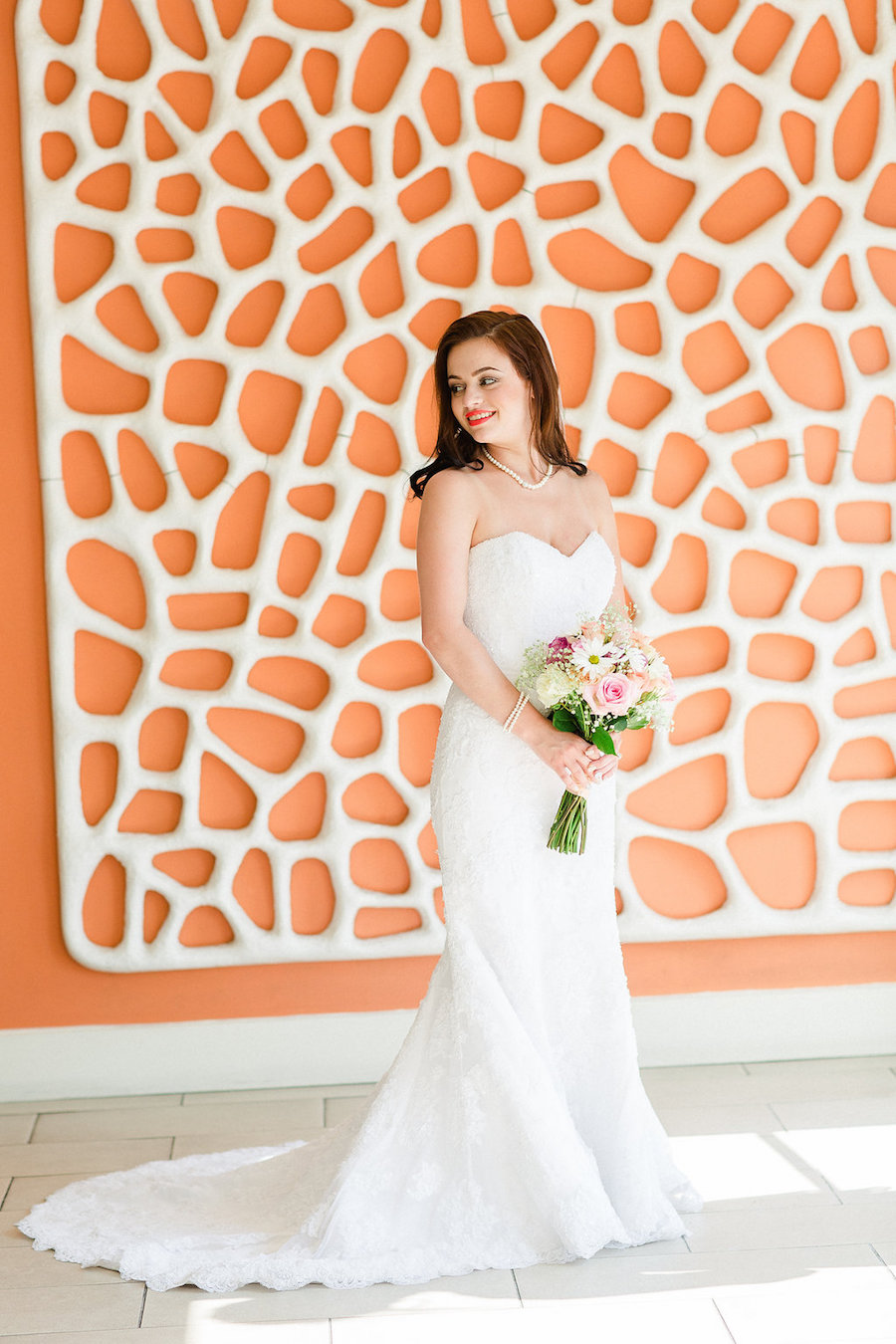Outdoor, Bridal Wedding Portrait in White Strapless Demetrios Wedding Dress | Clearwater Beach Wedding Photographer Ailyn La Torre Photography