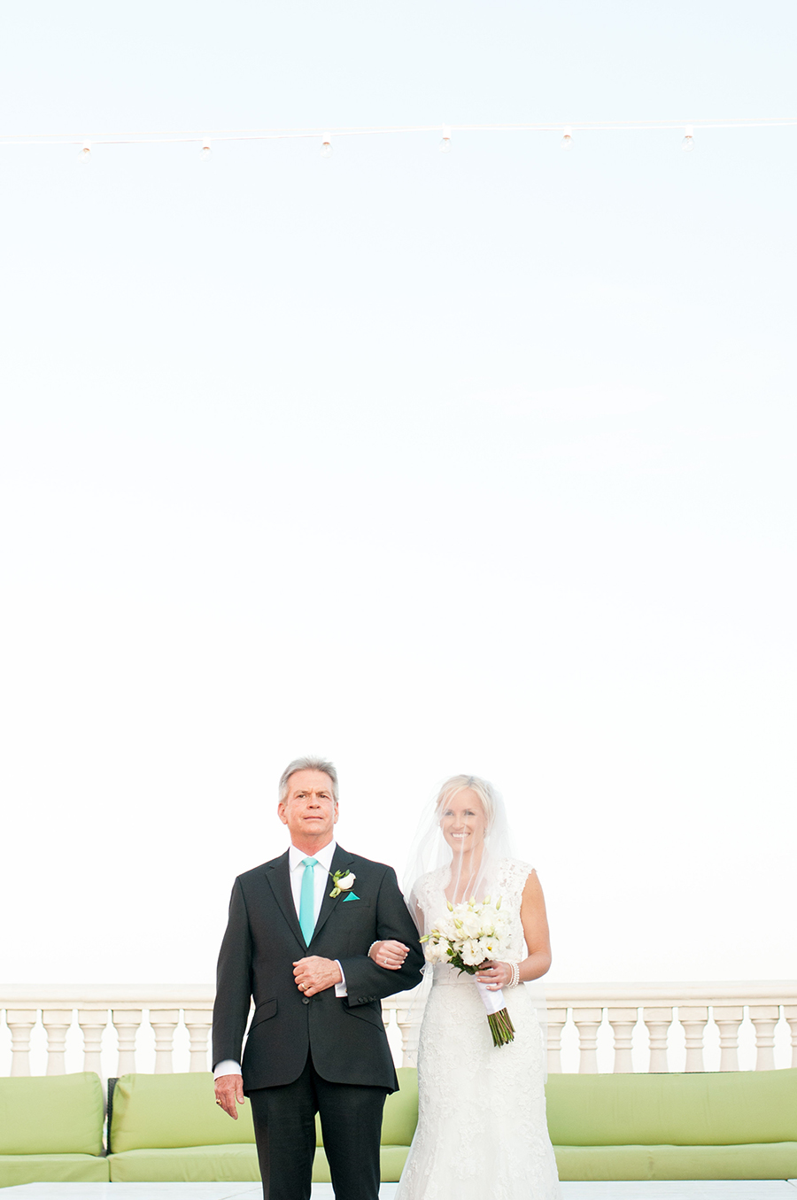 Bride and Dad Walking Down the Aisle | Clearwater Beach Wedding Ceremony | Clearwater Beach Wedding Photographer Caroline and Evan Photography