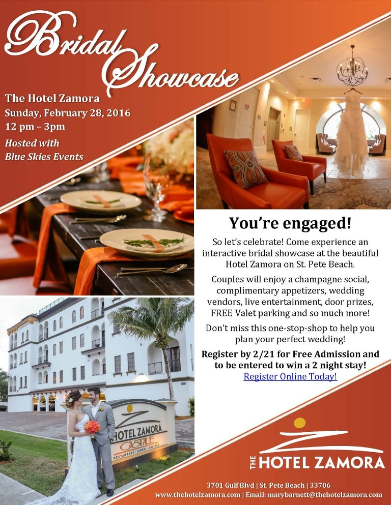 Tampa Bay Area Bridal Show at The Hotel Zamora Wedding Venue in St. Pete Beach hosted with Blue Skies Events Bridal Showcase in February with Gowns Flowers Venues Entertainment Decor & Photography Vendors in Tampa Clearwater Brandon St Petersburg