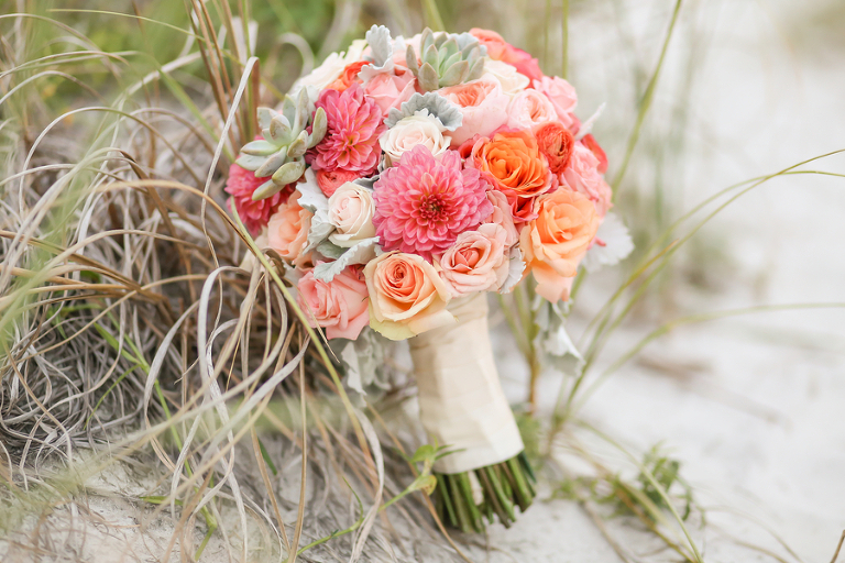 Pink and Coral Floral Wedding Bouquet with Succulent Accents