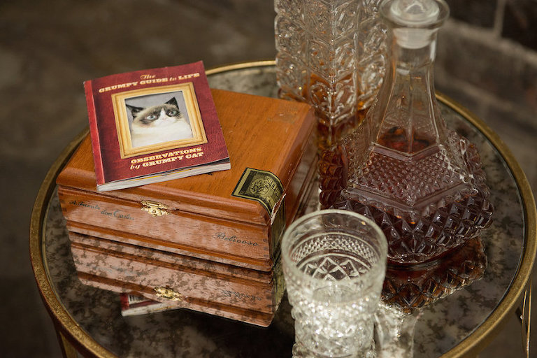 Tampa Bay Wedding Decor Spirits and Cigar Table with Vintage Glasses | Tampa Bay Wedding Designer Ever After Vintage Rentals | Tampa Bay Wedding Photographer Artful Adventures Photography