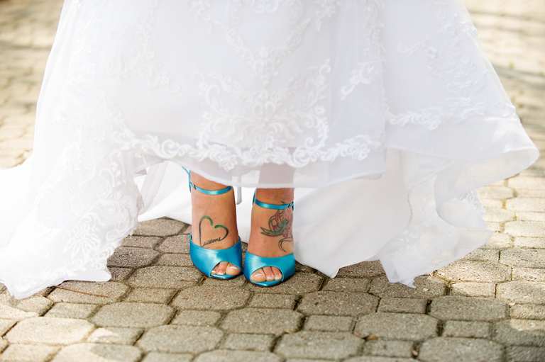 Bridal, Blue Teal Strap Wedding Shoes with White, Lace Wedding Gown