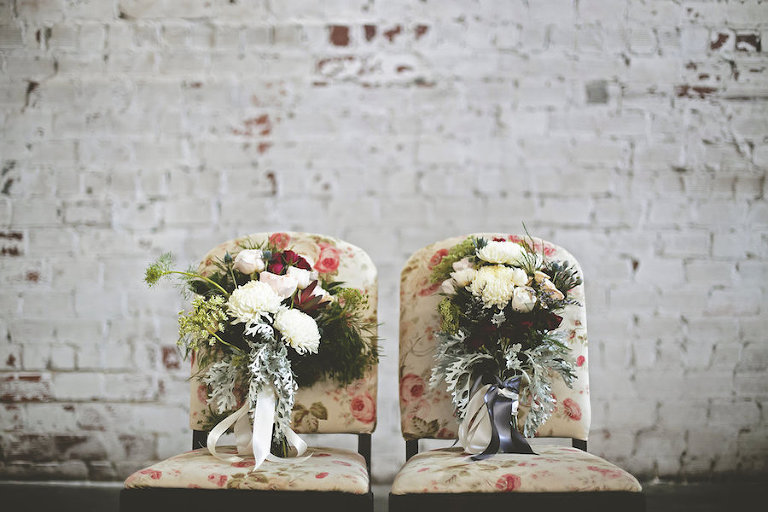 Sweetheart Table Flower Chairs with White, Pink, and Green Wedding Bouquets | Bohemian/Boho Styled Wedding Shoot