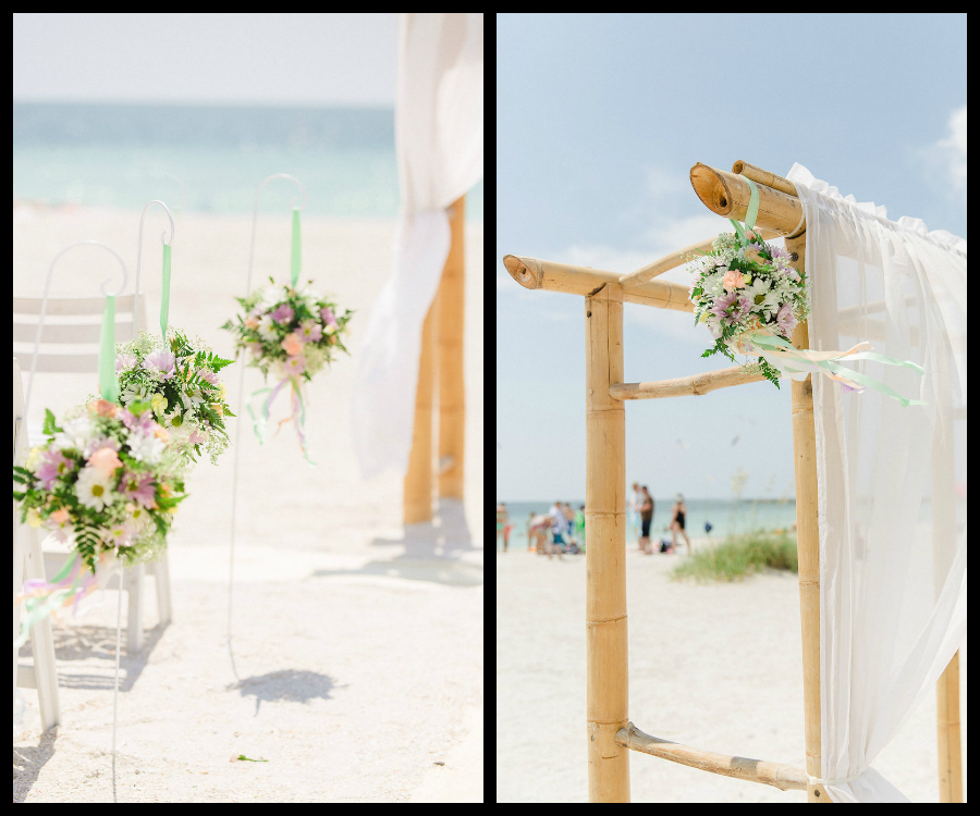 Clearwater Beach Waterfront, Outdoor Wedding Ceremony Altar Purple and White Flowers | Clearwater Beach Wedding Photographer Ailyn La Torre Photography