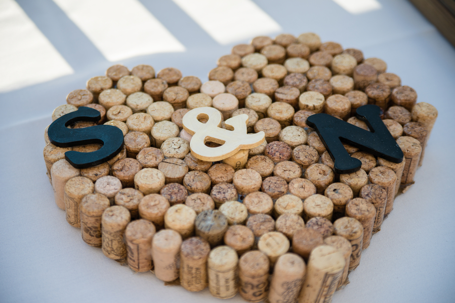 Wooden, Cork Heart With Bride and Groom Initials Wedding Details