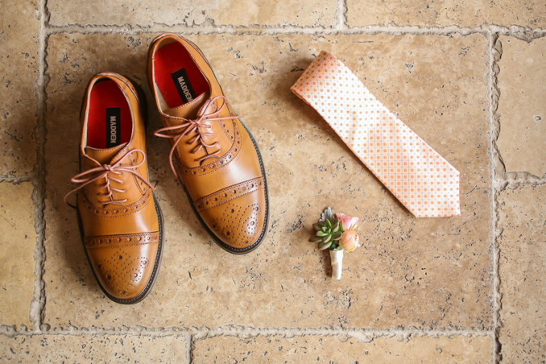 Brown Steve Madden Groom's Wedding Shoes with Orange Tie and Succulent Boutonniere Getting Ready Details