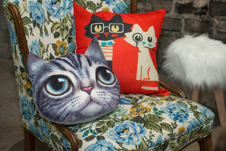 Floral Vintage Chair with Art Deco Cat Pillows | Tampa Bay Wedding Chair Rentals by Kate Ryan Linens| Tampa Bay Wedding Photographer Artful Adventures Photography