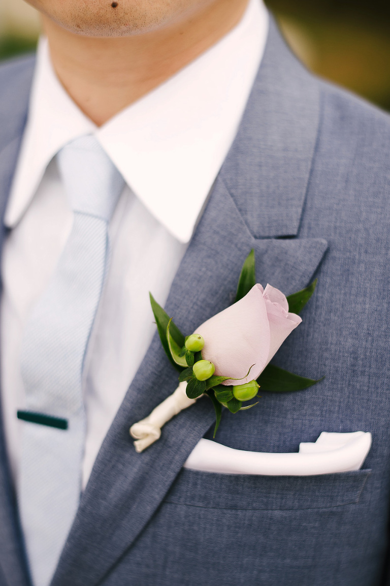Clearwater Beach Groom Blue Suit Detail with Pink Rose Boutonnière and Blush Pocket Square