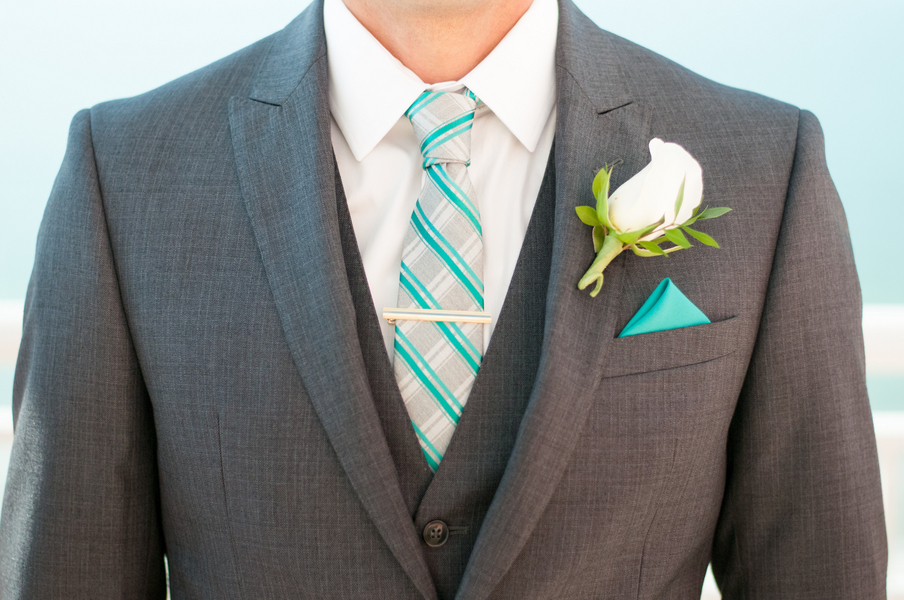 Grey, Groom's Wedding Suit with Ivory and Blue Tie and Blue Pocket Square | Clearwater Beach Wedding Photographer Caroline and Evan Photography