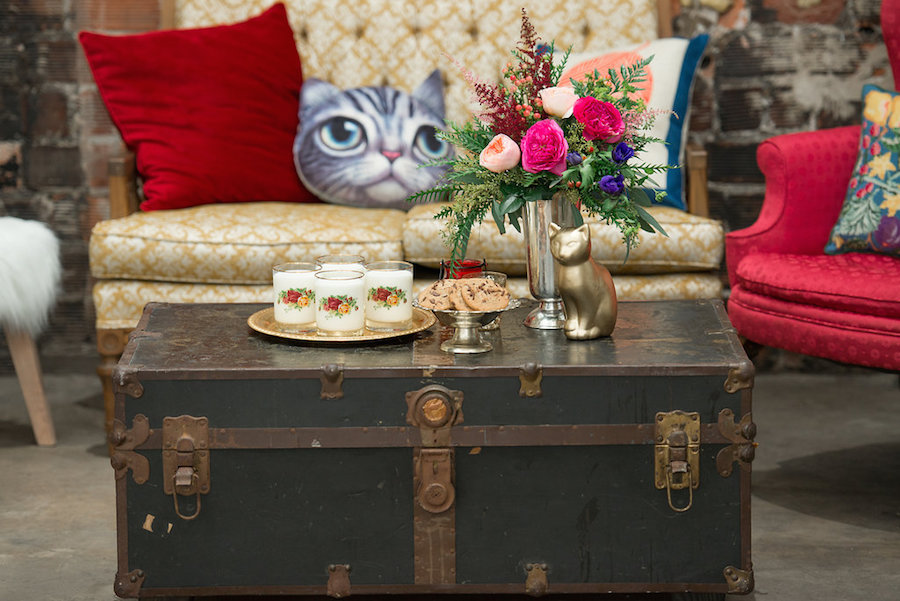 Vintage Chair and Trunk with Art Deco Cat Pillows | Tampa Bay Wedding Chair Rentals by Kate Ryan Linens | Tampa Bay Wedding Designer Ever After Vintage Rentals| Tampa Bay Wedding Photographer Artful Adventures Photography