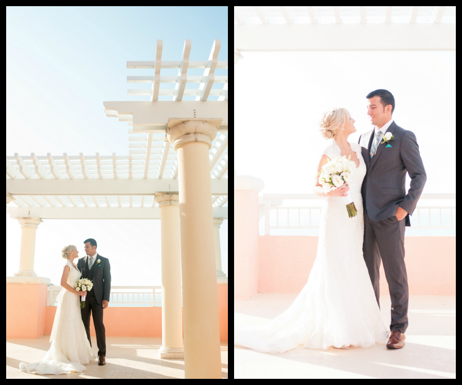 Bride and Groom, Outdoor Wedding Portrait | Hyatt Clearwater Beach