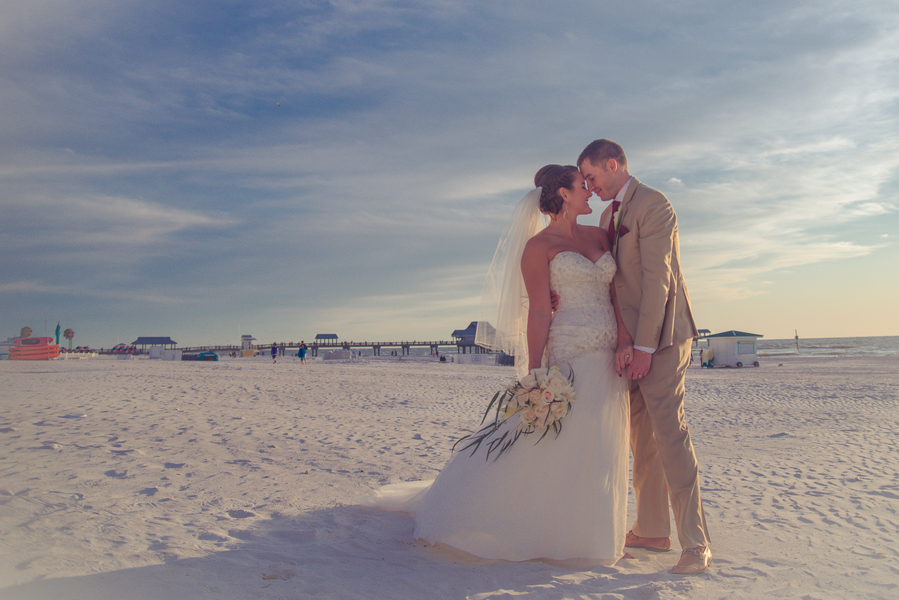 Bride and Groom Waterfront, Beach Portrait | Clearwater Beach Wedding Venue Hilton Clearwater Beach