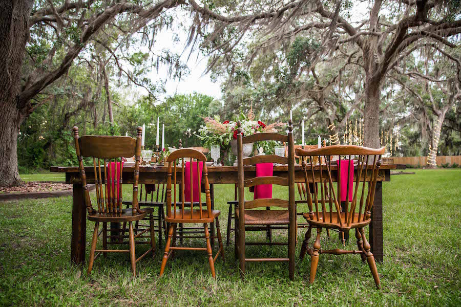 Mix and Match Vintage Wooden Chairs | Southern Inspired Outdoor Wedding Reception Styled Shoot