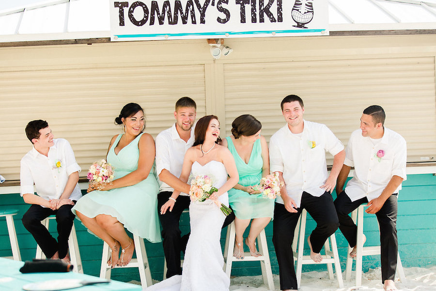 Seafoam, Mint Green Bridesmaids Dresses Bridal Party Portrait at Tiki Bar on Clearwater Beach | Clearwater Beach Wedding Photographer Ailyn La Torre Photography