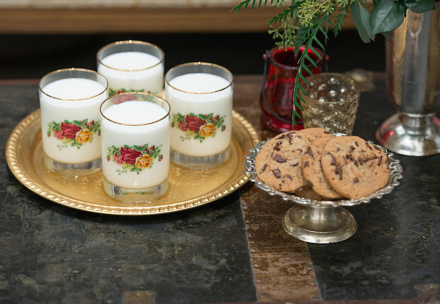 Milk and Cookies Wedding Cake Alternative in Vintage Floral Glasses| Tampa Bay Wedding Photographer Artful Adventures Photography