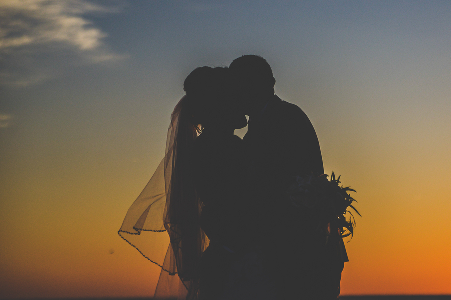 Sunset, Silhouette Wedding Portrait