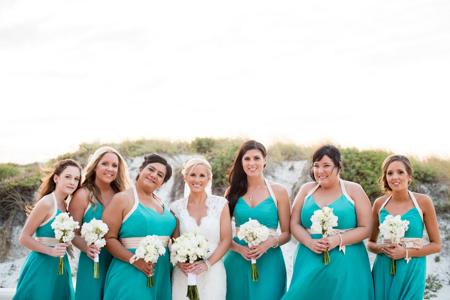 Bride and Green, Teal Alfred Angelo Bridesmaids Dresses Bridal Part Wedding Portrait on Clearwater Beach | Clearwater Beach Wedding Ceremony | Clearwater Beach Wedding Photographer Caroline and Evan Photography