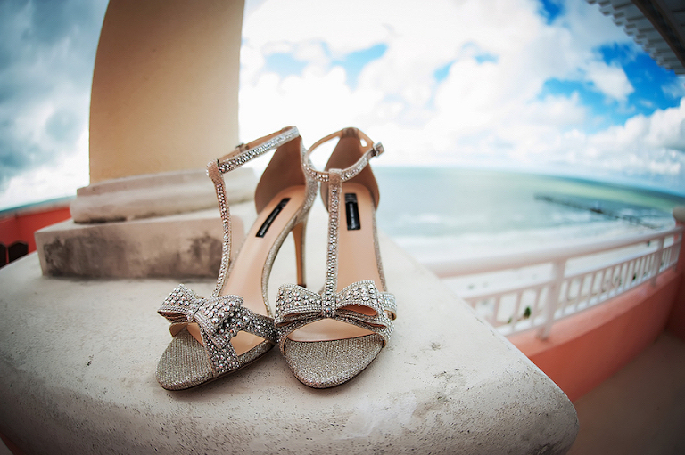 Silver, Jeweled Bridal Wedding Shoes with Straps and Bow Details | Clearwater Beach Wedding Photographer Limelight Photography