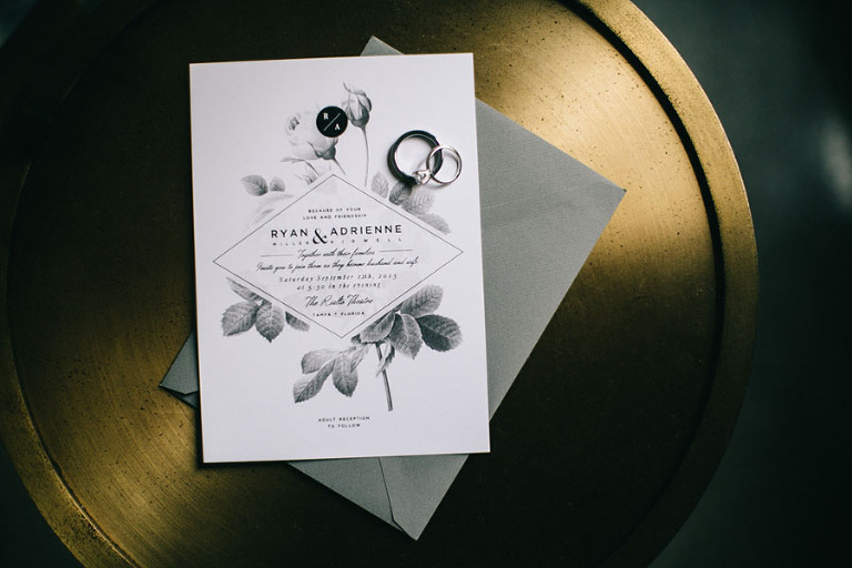 Black, White and Grey Floral Wedding Invitation Stationary | Citrus Press Co.
