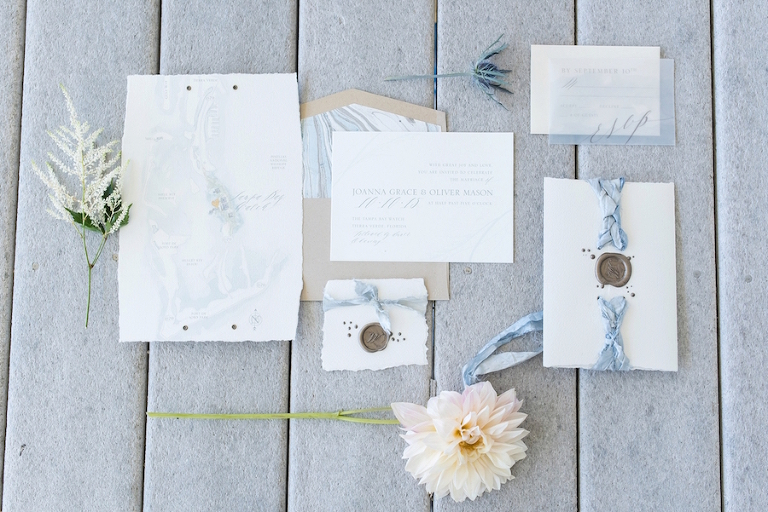Custom Coastal Light Blue Inspired Wedding Stationery Suite | Map on Invitation | Wax Wedding Monogram Seal| Tampa Bay Wedding Photographer, Caroline & Evan Photography