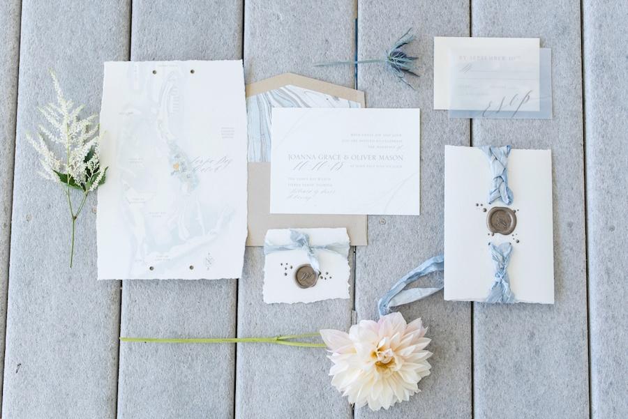 Custom Coastal Light Blue Inspired Wedding Stationery Suite | Map on Invitation | Wax Wedding Monogram Seal| Tampa Bay Wedding Photographer, Caroline & Evan Photography