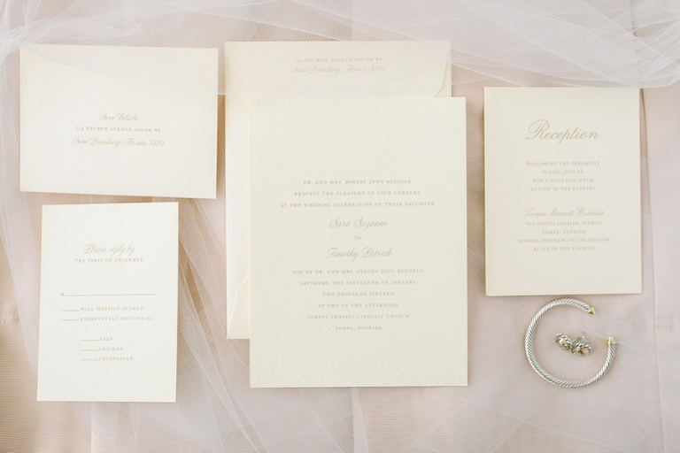 Ivory and Gold Wedding Invitation Stationary and Bridal Jewelry