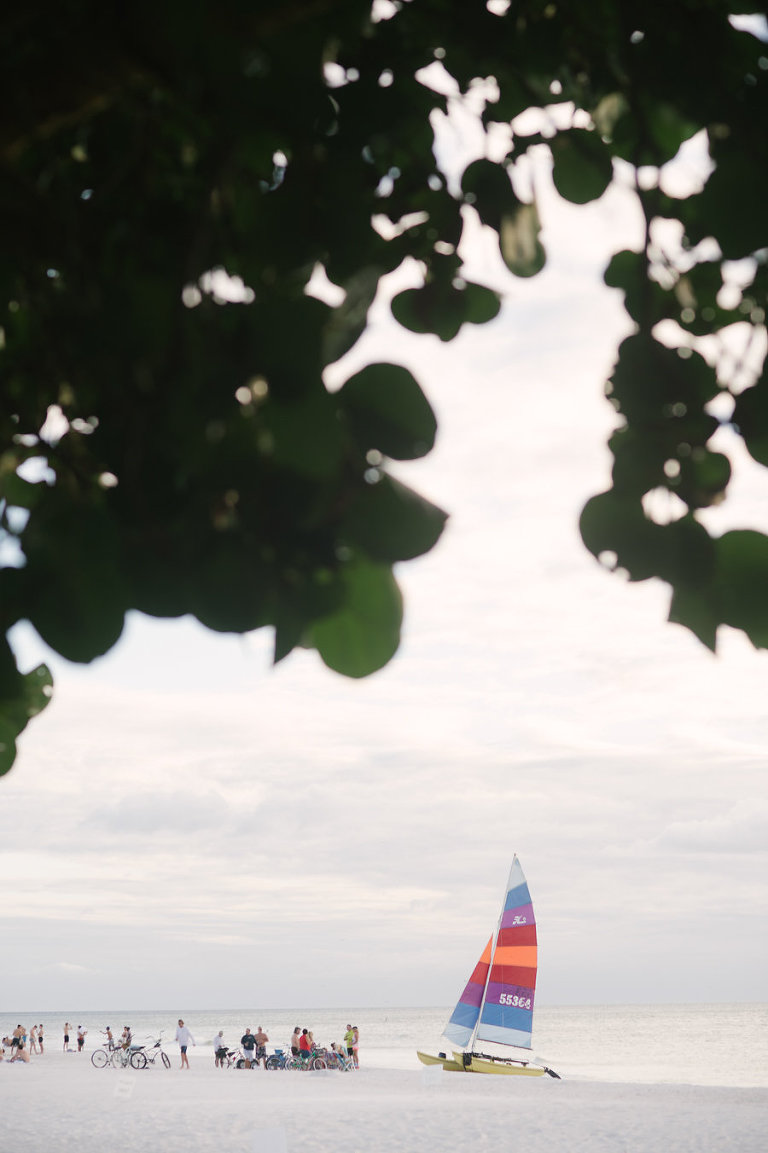Sailboat on Beach: Tampa Bay Beach Wedding, Siesta Key, Florida