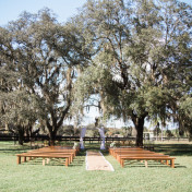 Rustic Outdoor Tampa Bay Wedding CeremonyVenue with Live Oak Trees | Karnes Stables Lutz Wedding Venue