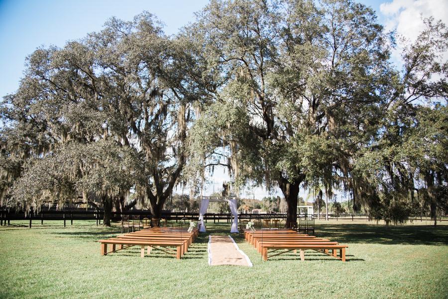 Rustic Outdoor Tampa Bay Wedding CeremonyVenue with Live Oak Trees   Karnes Stables Lutz Wedding Venue