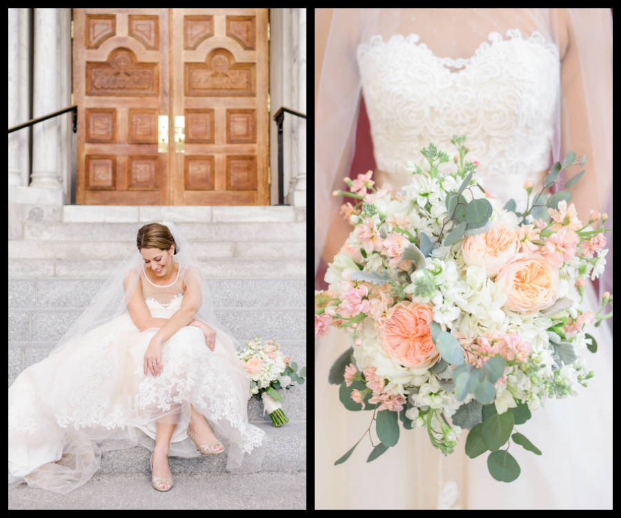 Outdoor Bridal Wedding Portrait in Lace WTOO Wedding Gown and Ivory and Blush, Coral Floral Bouquet