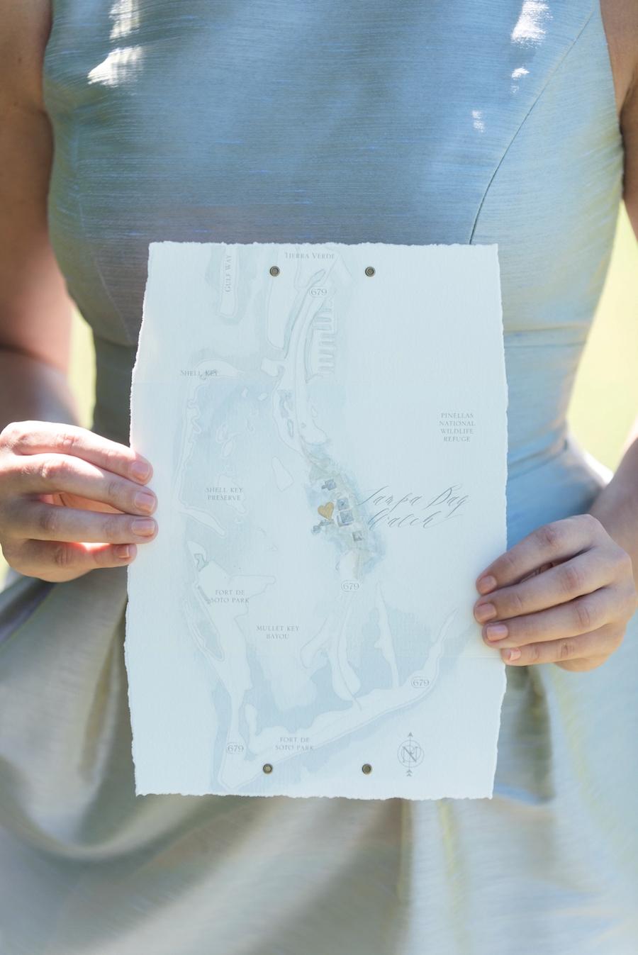 Custom Coastal Inspired Tampa Bay Wedding Invitations | Wedding Map | Tampa Bay Wedding Photographer, Caroline & Evan Photography