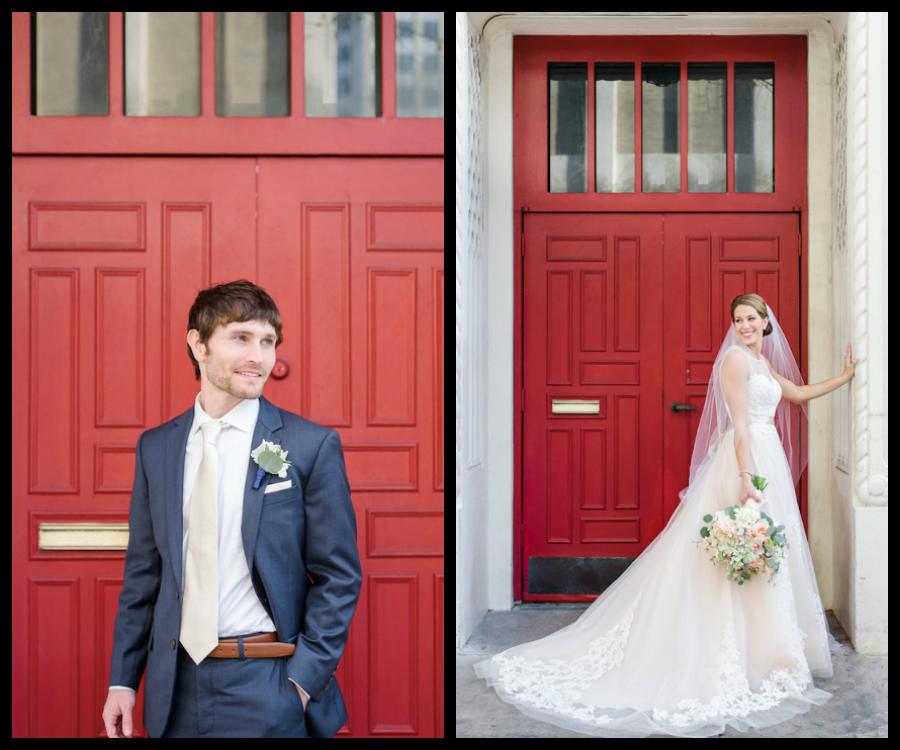 Tampa Bride and Groom Outdoor Wedding Portraits with Red Door