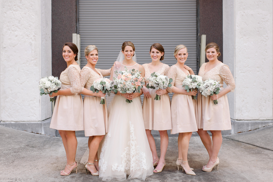 Ivory and Blush Pink Wedding Bouquets and Blush Bridesmaids Dresses with Lace