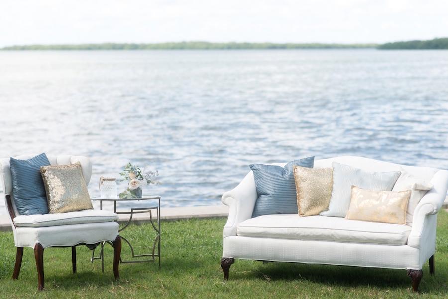 Coastal Chic Wedding Furniture Rentals | Outdoor Waterfront St. Pete Wedding Seating Lounge| Tampa Bay Wedding Photographer, Caroline & Evan Photography