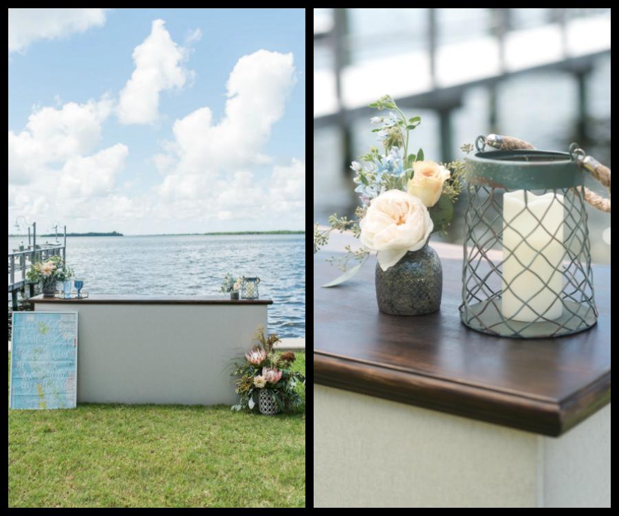 Coastal, Beach Inspired Wedding Decor| Rental Bar for Outdoor Waterfront Wedding | Tampa Bay Wedding Photographer, Caroline & Evan Photography