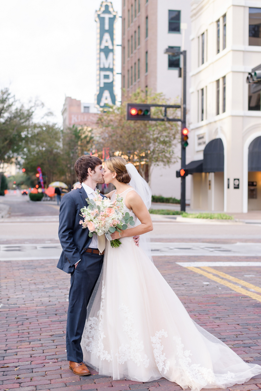 Tampa Bride and Groom, Outdoor Wedding Portrait in Downtown Tampa