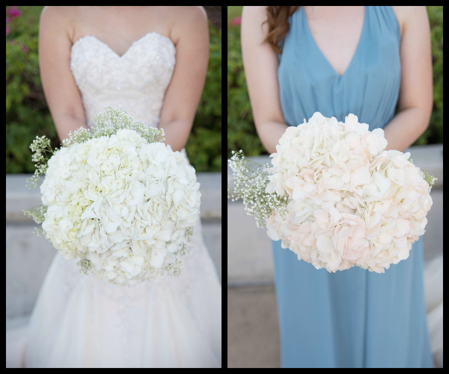 Bride and Bridesmaid in Dusty Blue dress with White and Blush Wedding Bouquet Detail| Photo by Tampa Bay Wedding Photographer Kristen Marie Photography