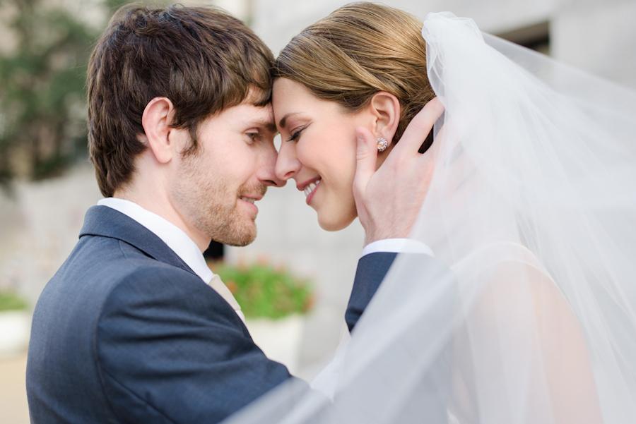 Tampa Bride and Groom Embracing, Outdoor Wedding Portrait