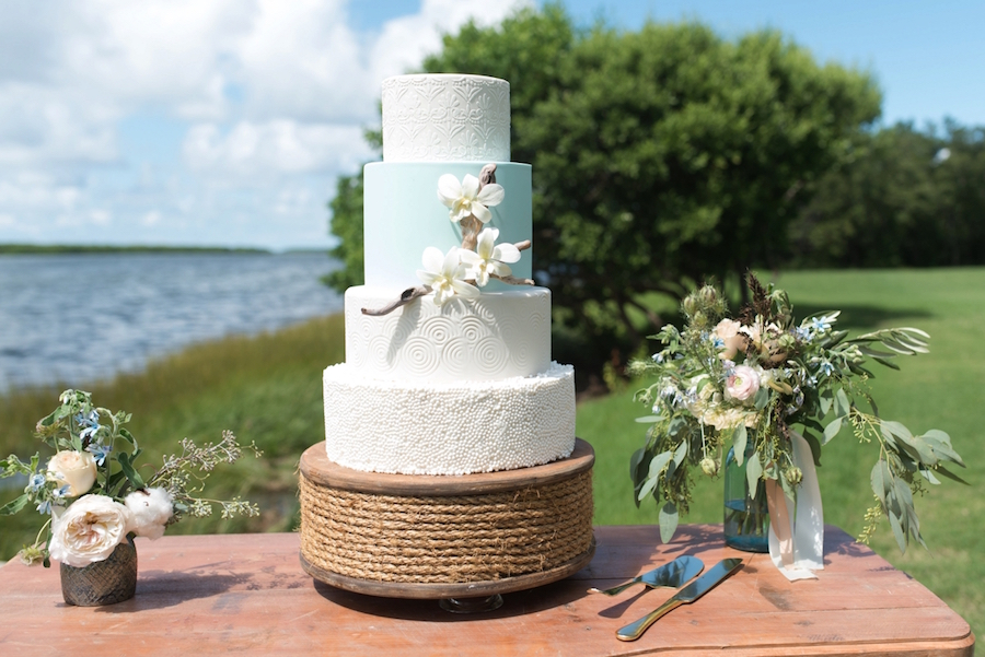 Four-Tier Custom Wedding Cake with Texture of Driftwood, Rope and Natural Elements| St. Pete Wedding Photographer, Caroline & Evan Photography