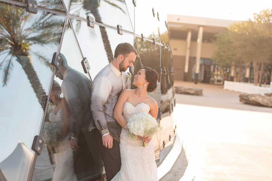 Bride and Groom Wedding Portrait in Downtown St. Pete Dali Museum | Photo by Tampa Bay Wedding Photographer Kristen Marie Photography