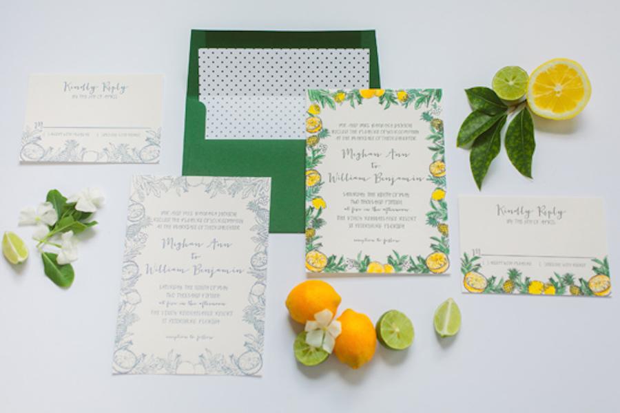 Citrus Fruit Inspired Wedding Invitation| Custom Tampa Bay Wedding Invitations and Stationery by St. Petersburg Wedding Invitation Store AP Design Co