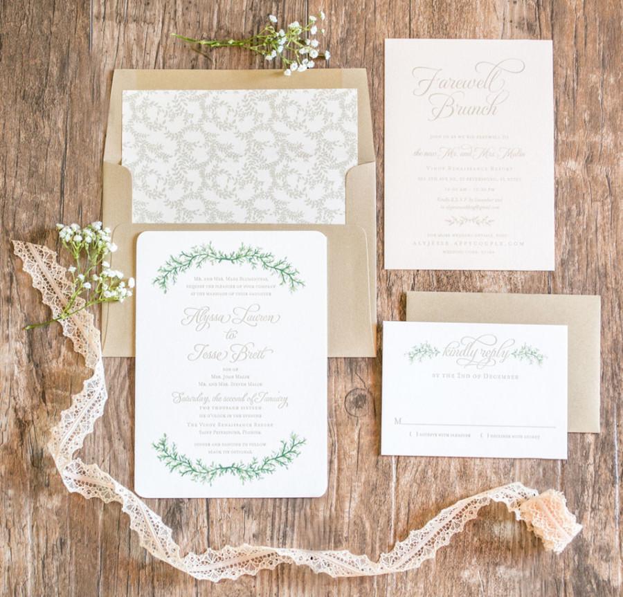 Floral Wedding Letterpress Invitations |Custom Tampa Bay Wedding Invitations and Stationery by St. Petersburg Wedding Invitation Store AP Design Co