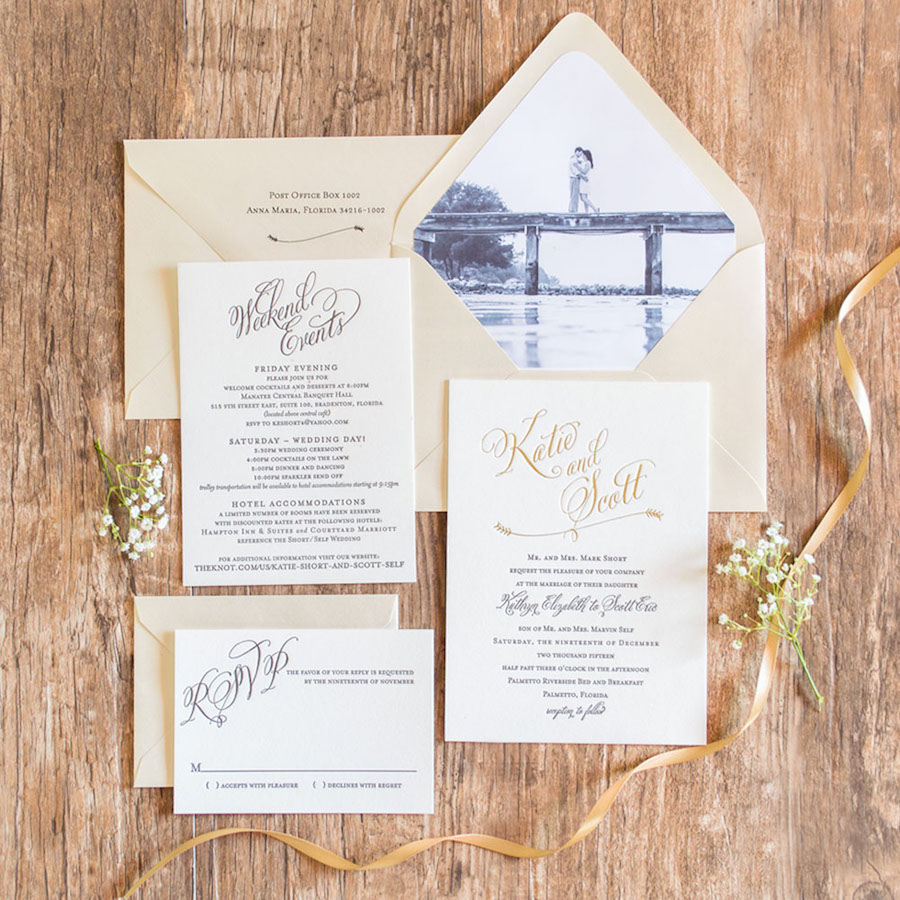 Classic Calligraphy and Letterpress Wedding Invitations with Custom Photo Envelope Liner| Custom Tampa Bay Wedding Invitations and Stationery by St. Petersburg Wedding Invitation Store AP Design Co
