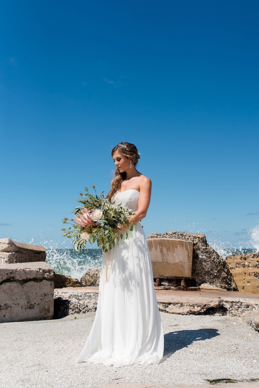 Coastal Beach Bridal Wedding Portrait in Strapless Chiffon Dessy Wedding Dress| Tampa Bay Wedding Photographer, Caroline & Evan Photography
