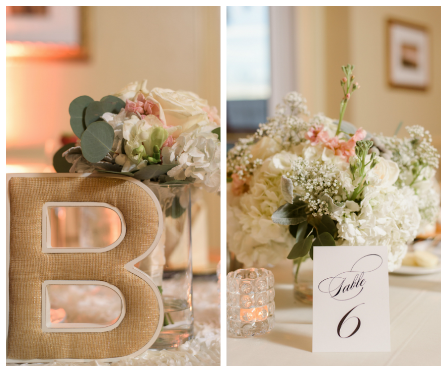 Elegant Tampa Wedding Reception Table Decor with Burlap Letter B and Ivory and Blush Pink Floral Centerpieces